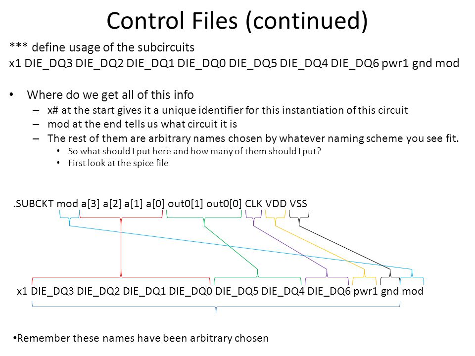 Control Files (continued)