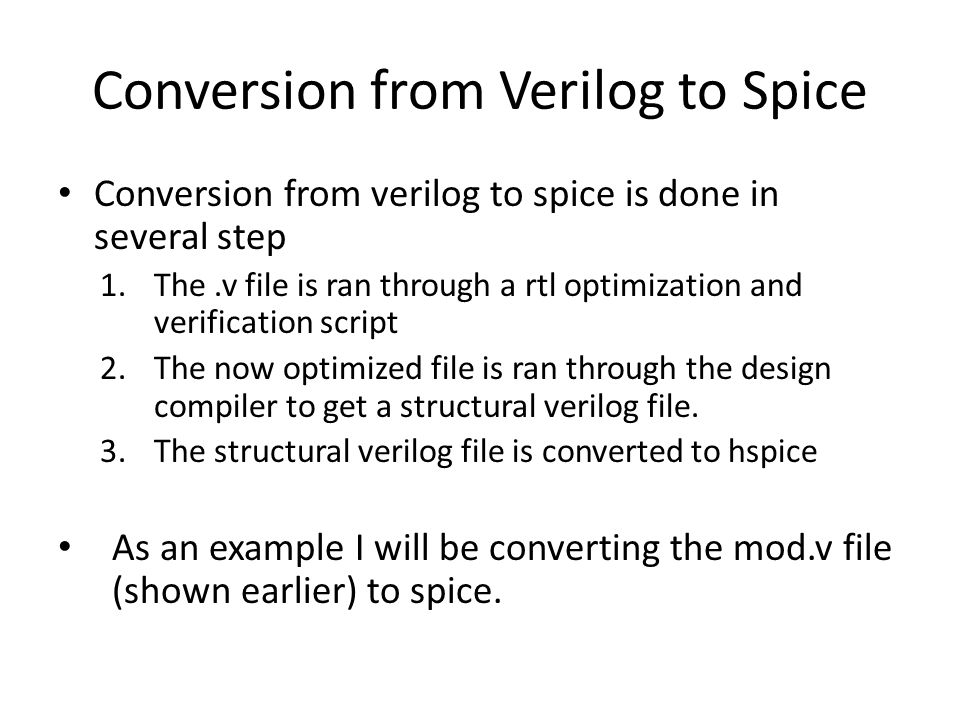 Conversion from Verilog to Spice