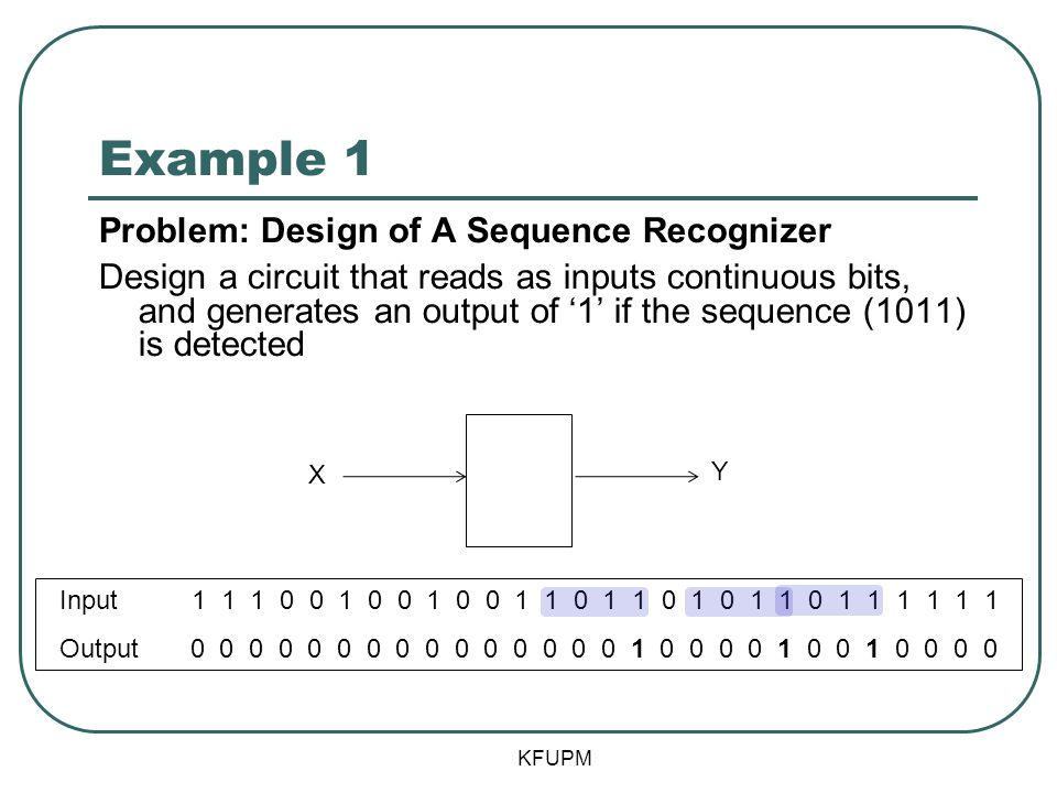Example 1 Problem: Design of A Sequence Recognizer