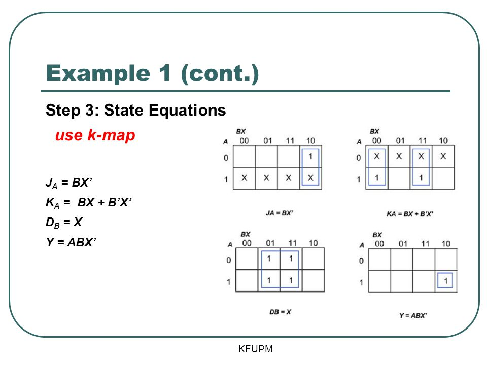 Example 1 (cont.) Step 3: State Equations use k-map JA = BX'