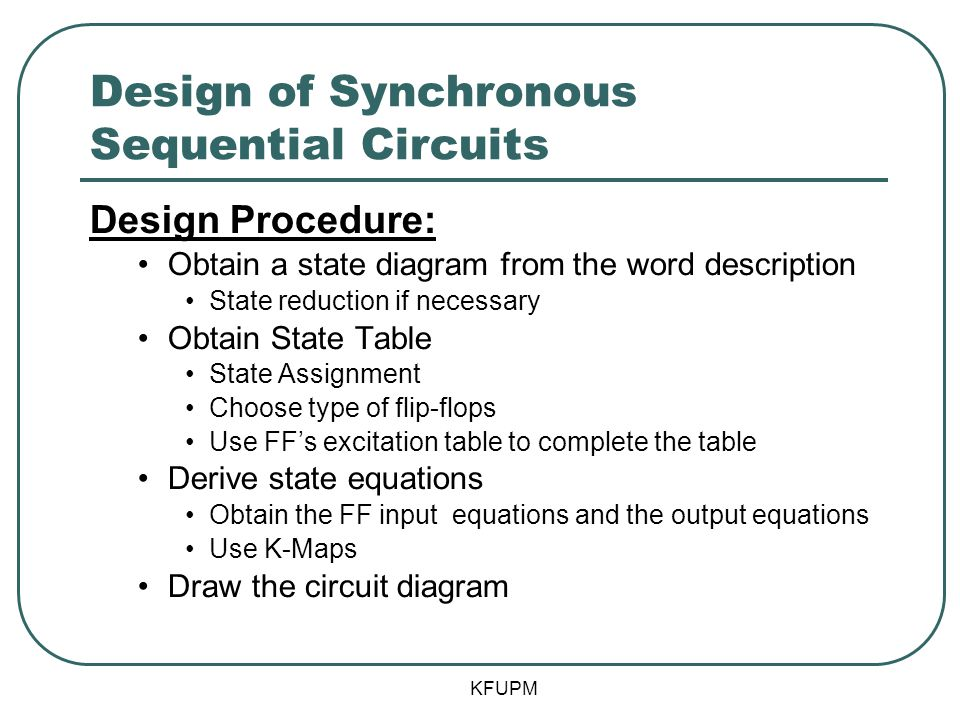 Design of Synchronous Sequential Circuits