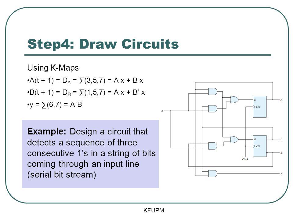 Step4: Draw Circuits Using K-Maps. A(t + 1) = DA = ∑(3,5,7) = A x + B x. B(t + 1) = DB = ∑(1,5,7) = A x + B' x.