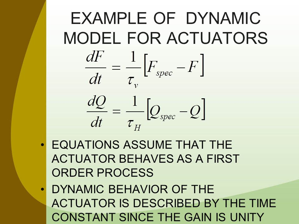 EXAMPLE OF Dynamic Model for Actuators