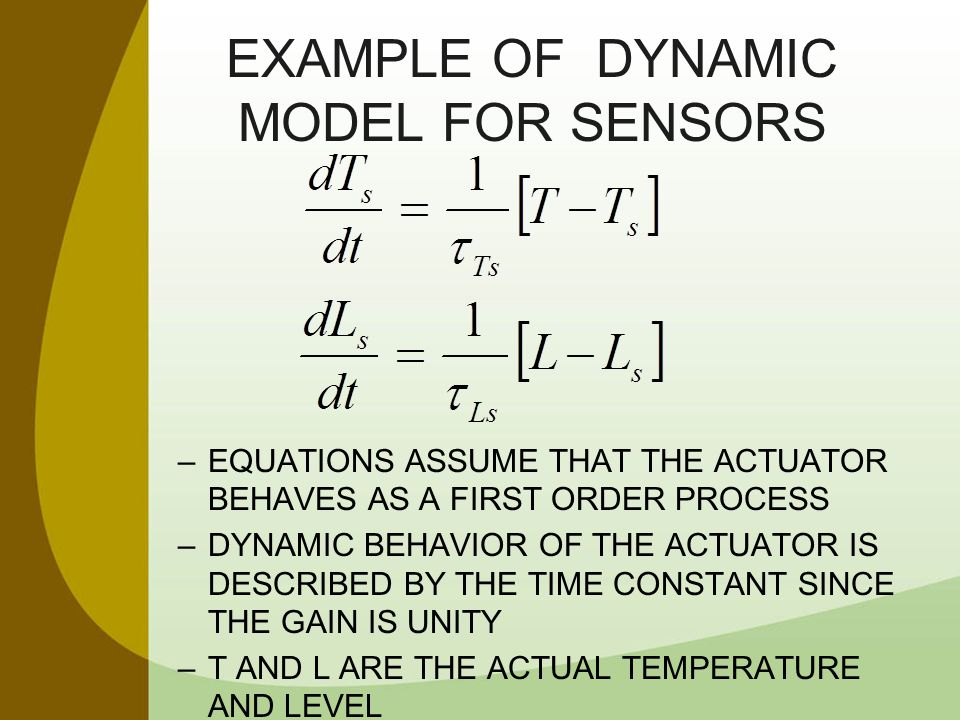 EXAMPLE OF Dynamic Model for Sensors