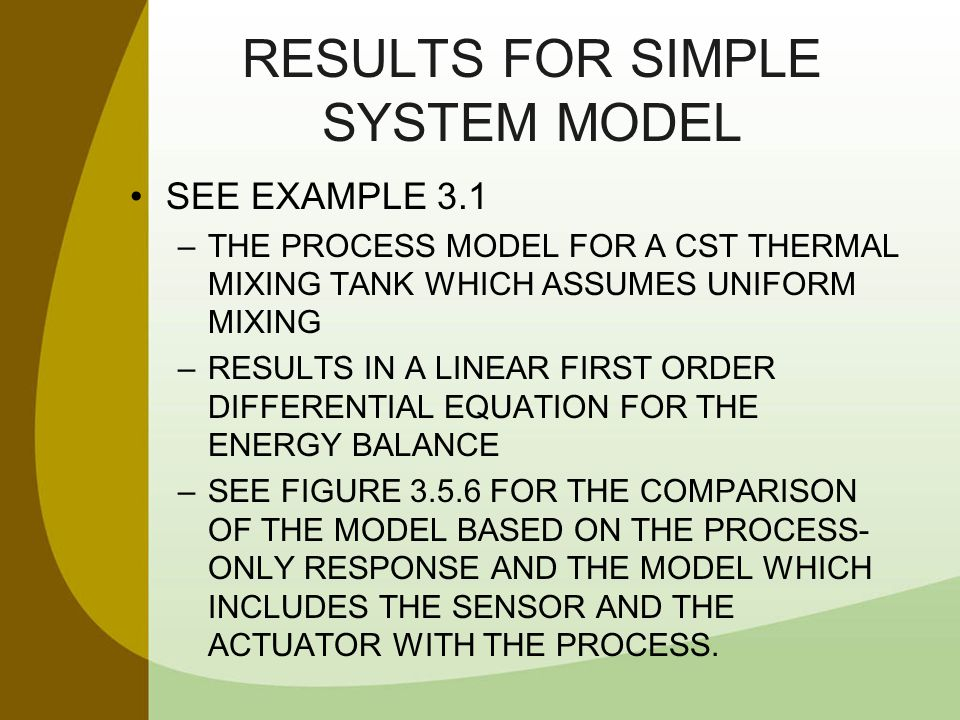 RESULTS FOR SIMPLE SYSTEM MODEL