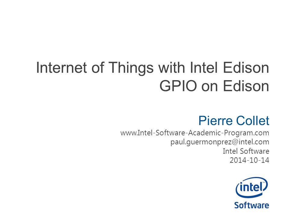 Internet of Things with Intel Edison GPIO on Edison