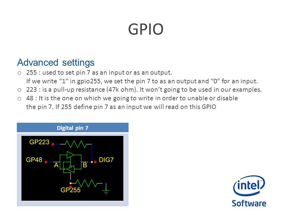 GPIO Advanced settings