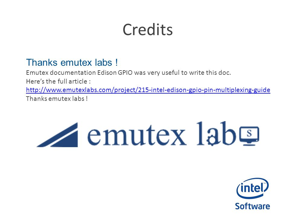 Credits Thanks emutex labs !