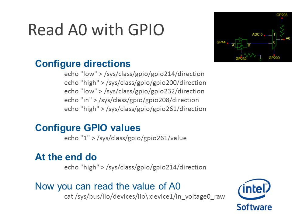 Read A0 with GPIO Configure directions Configure GPIO values
