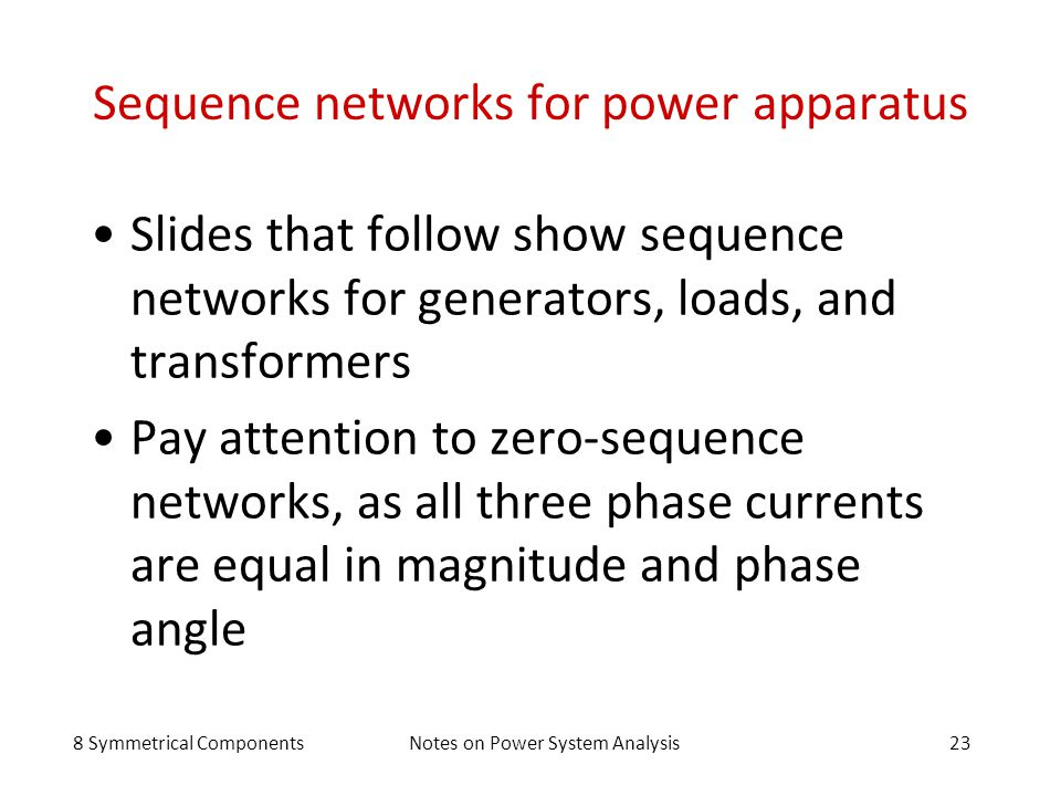Sequence networks for power apparatus