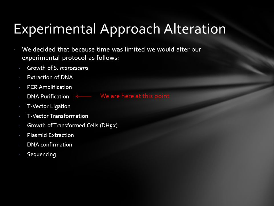 Experimental Approach Alteration