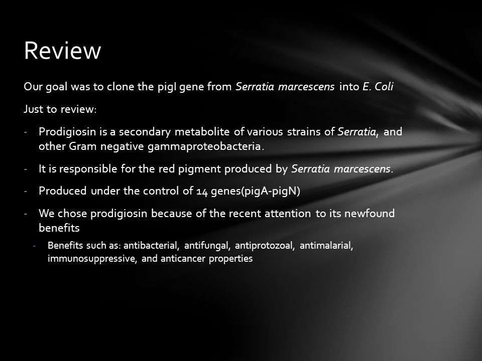 Review Our goal was to clone the pigI gene from Serratia marcescens into E. Coli. Just to review:
