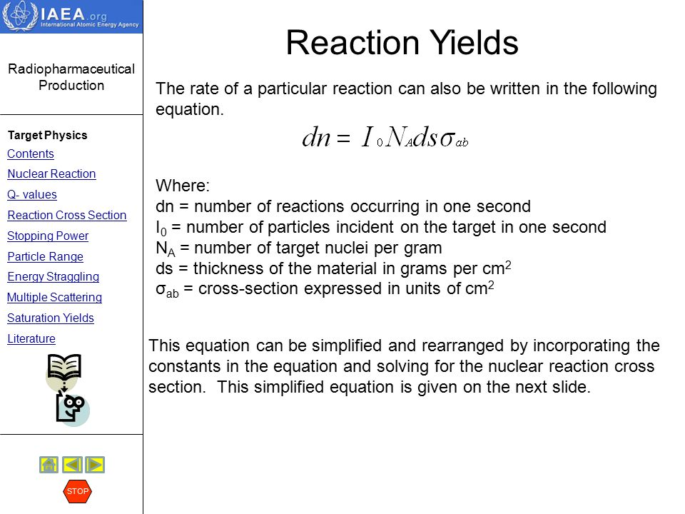 Reaction Yields The rate of a particular reaction can also be written in the following equation. Where: