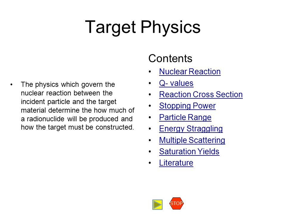 Target Physics Contents Nuclear Reaction Q- values