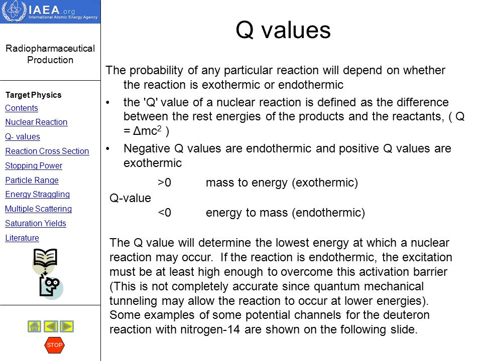 Q values >0 mass to energy (exothermic)