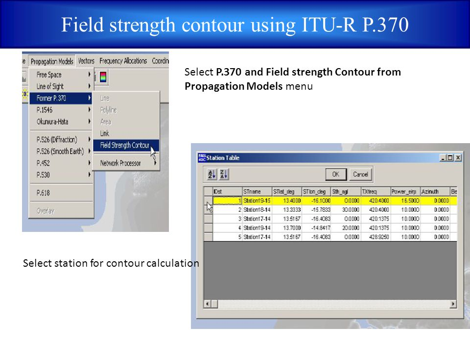 Field strength contour using ITU-R P.370