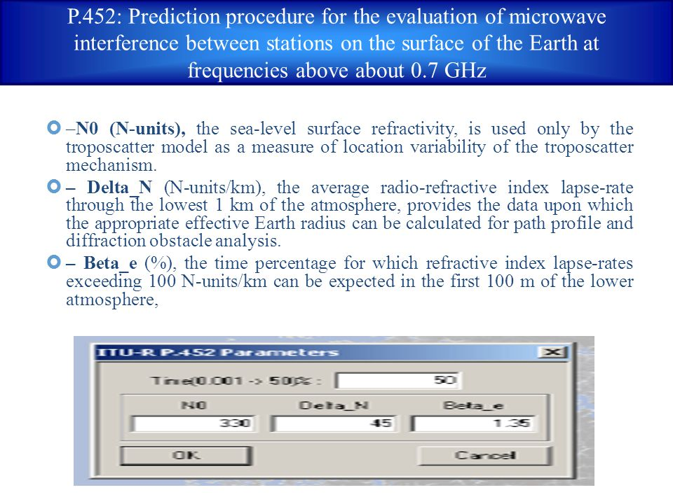 P.452: Prediction procedure for the evaluation of microwave interference between stations on the surface of the Earth at frequencies above about 0.7 GHz