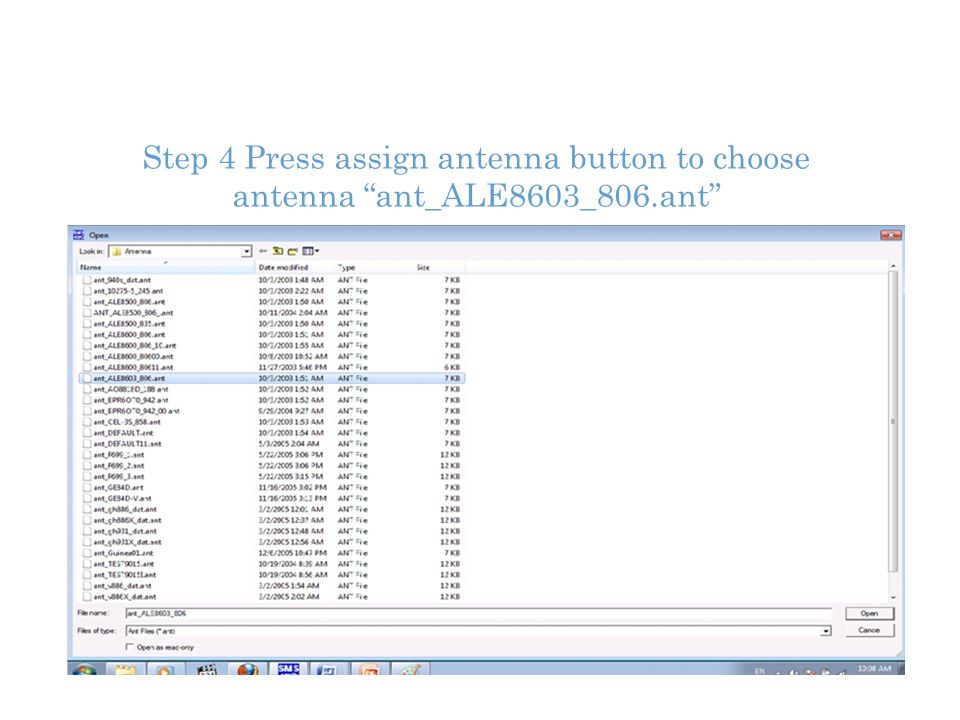 Step 4 Press assign antenna button to choose antenna ant_ALE8603_806