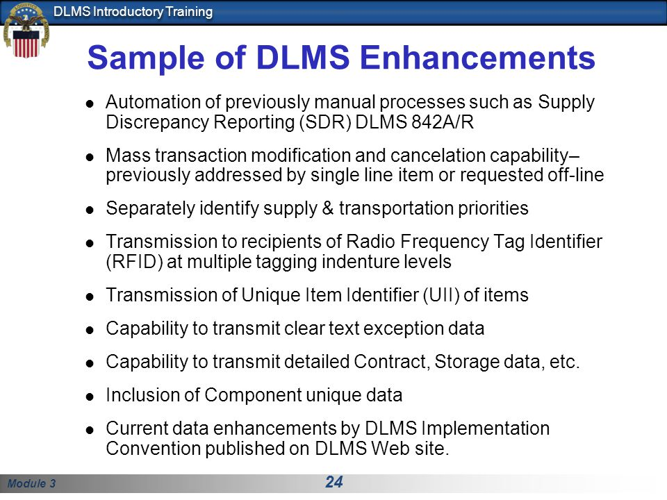 Sample of DLMS Enhancements
