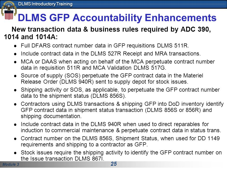 DLMS GFP Accountability Enhancements