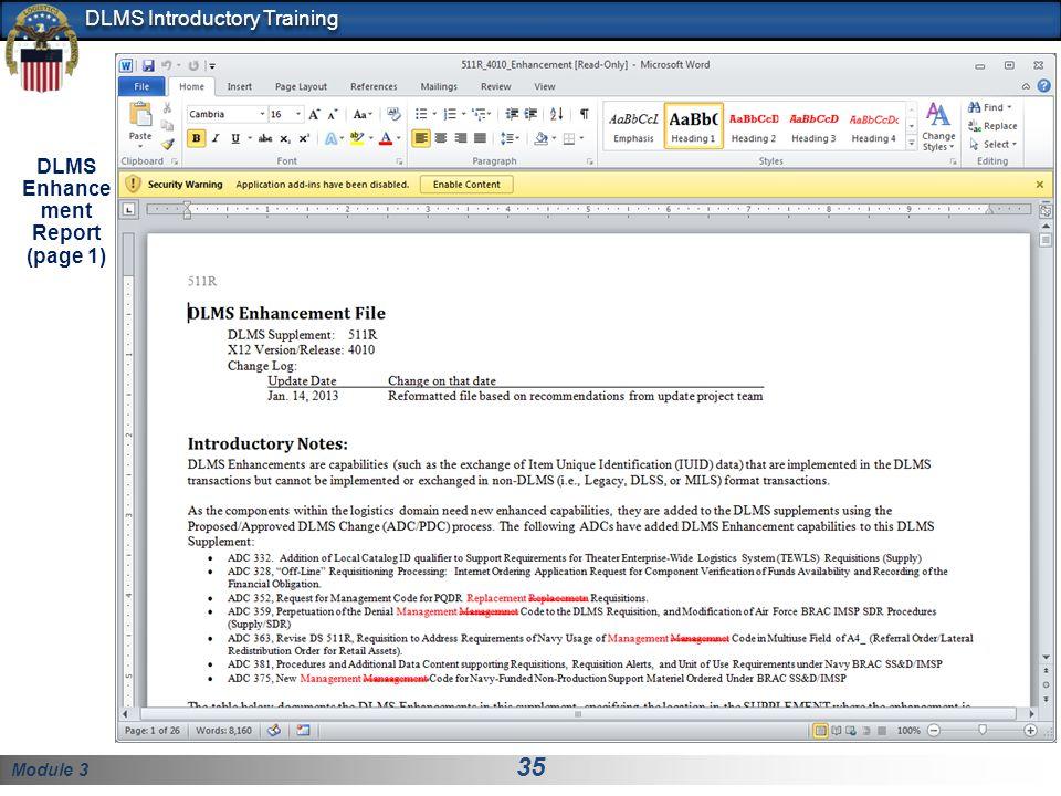 DLMS Enhancement Report (page 1)