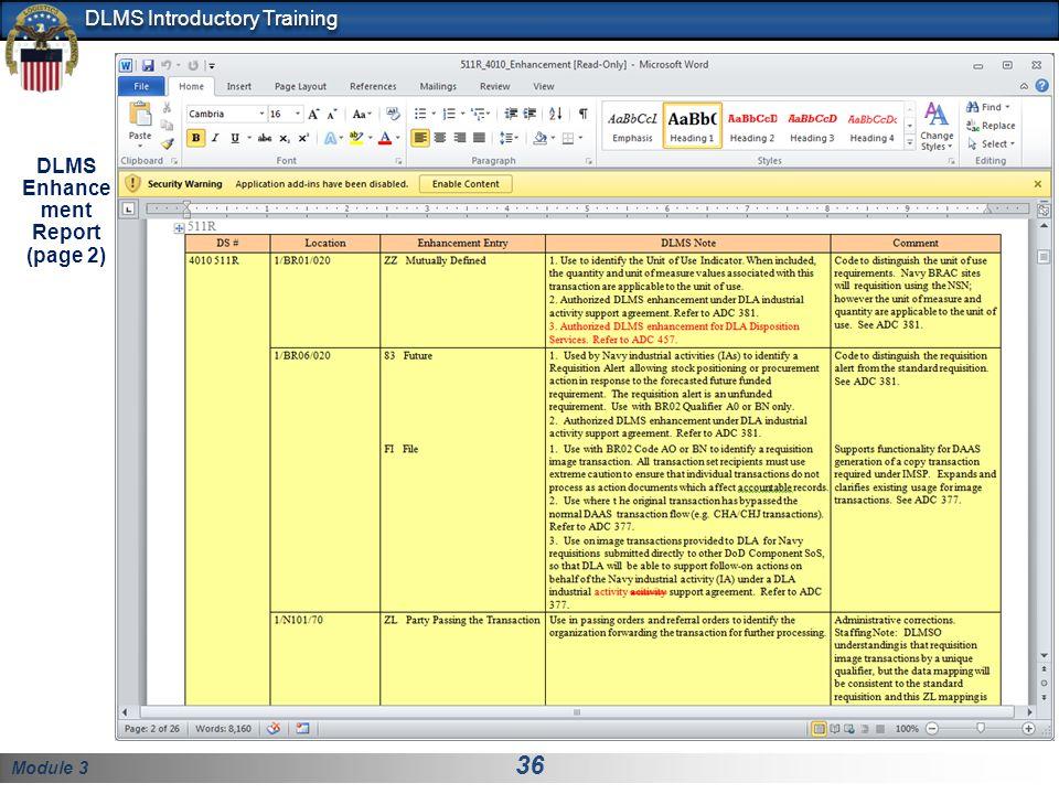 DLMS Enhancement Report (page 2)