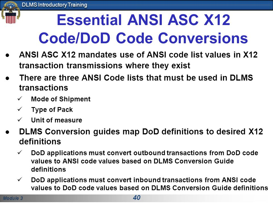 Essential ANSI ASC X12 Code/DoD Code Conversions
