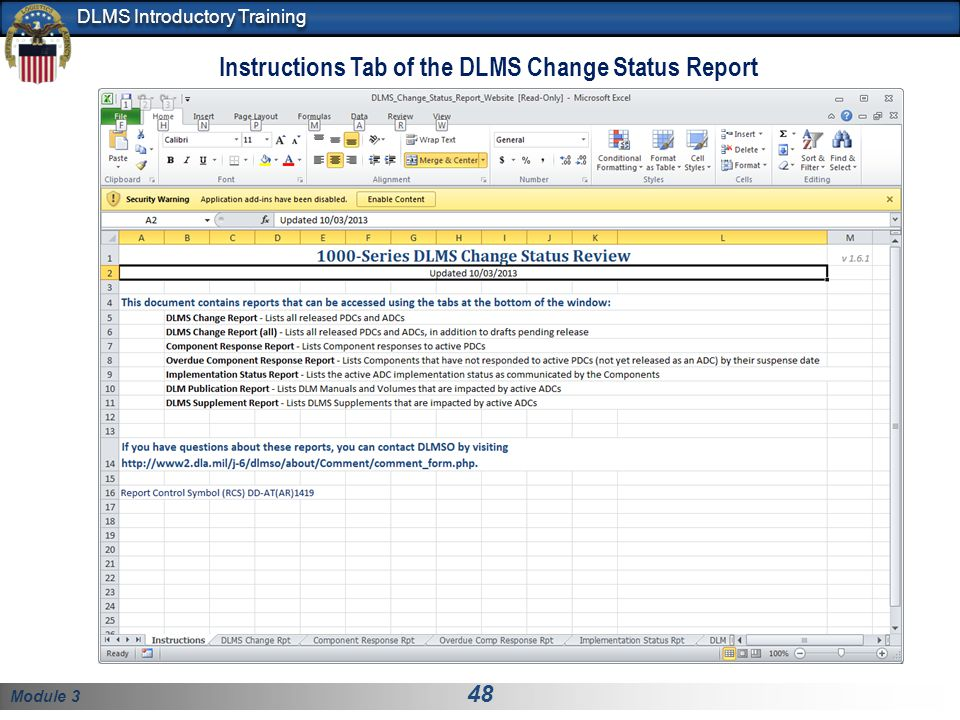 Instructions Tab of the DLMS Change Status Report