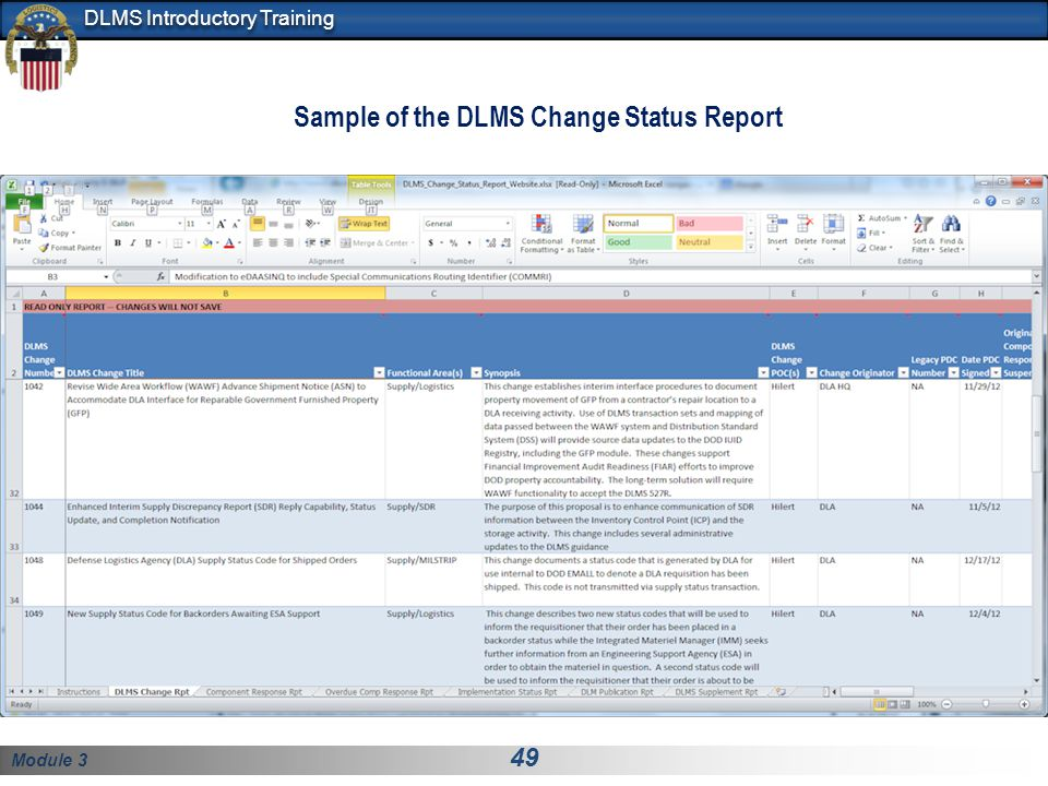 Sample of the DLMS Change Status Report