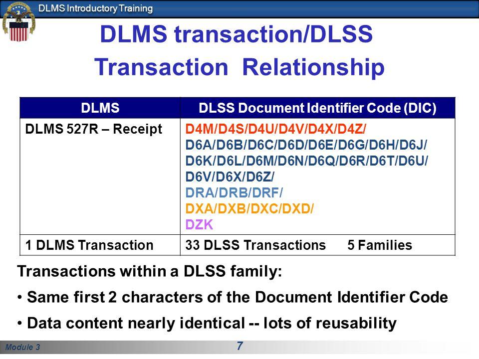 DLMS transaction/DLSS Transaction Relationship