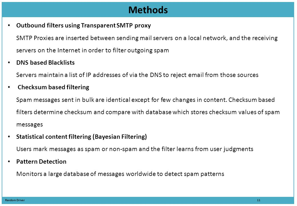 Methods Outbound filters using Transparent SMTP proxy