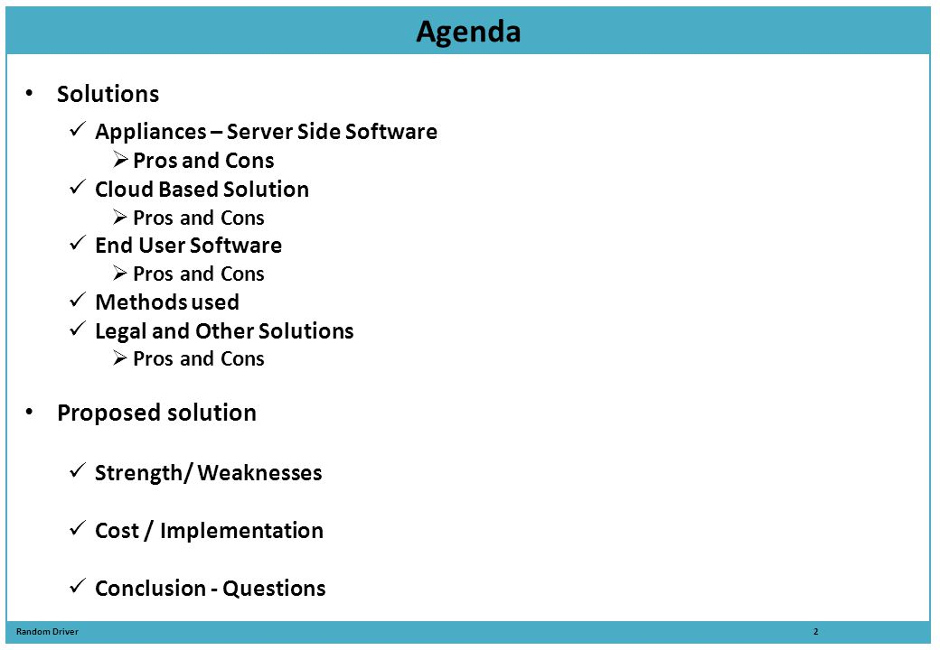 Agenda Solutions Proposed solution Appliances – Server Side Software