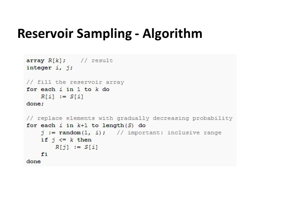 Reservoir Sampling - Algorithm