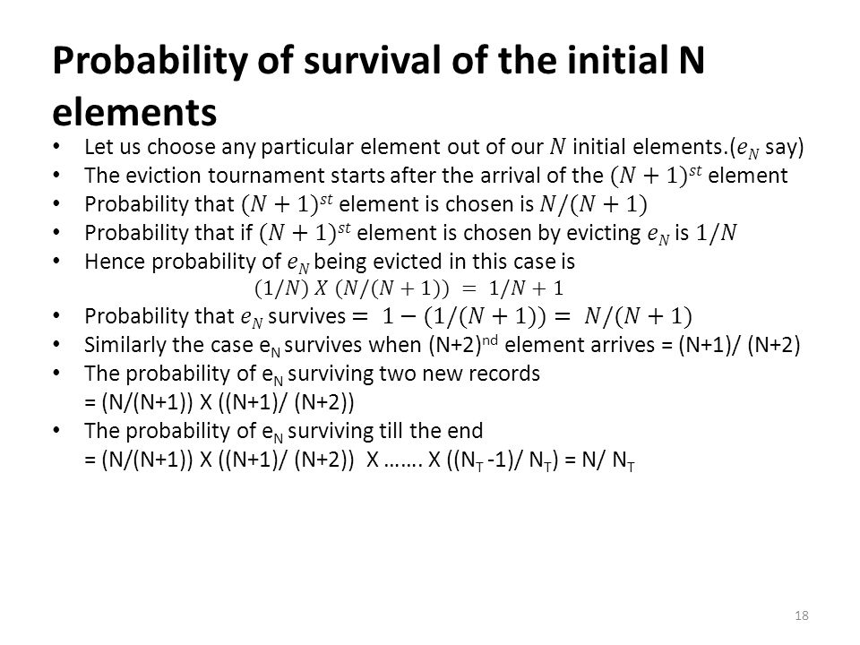 Probability of survival of the initial N elements