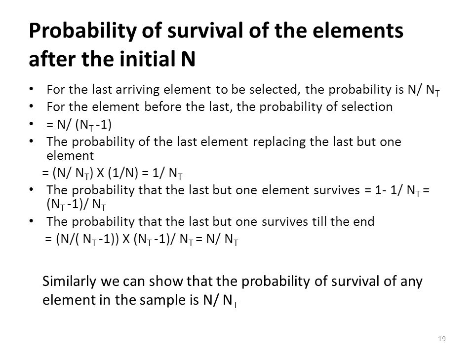 Probability of survival of the elements after the initial N
