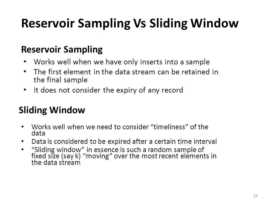 Reservoir Sampling Vs Sliding Window