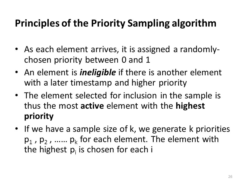 Principles of the Priority Sampling algorithm