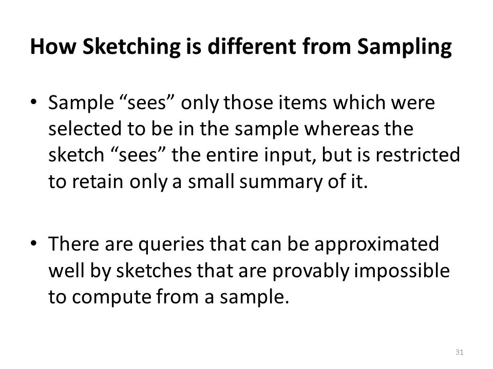 How Sketching is different from Sampling