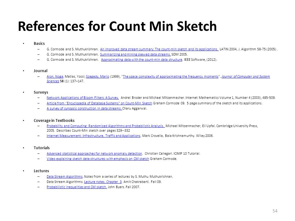 References for Count Min Sketch