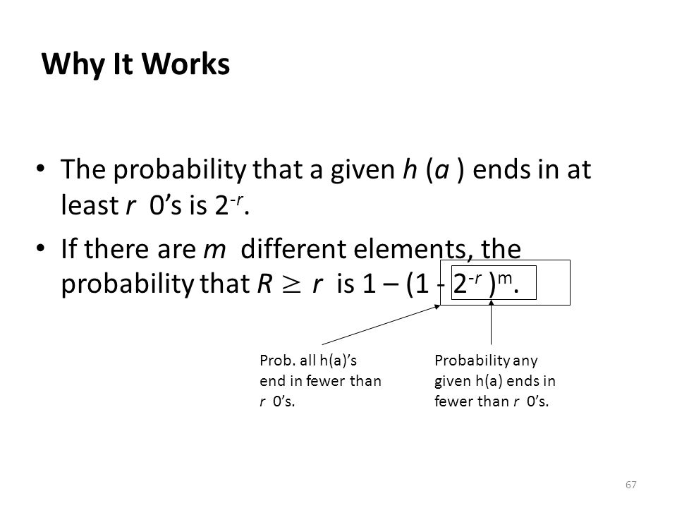 Why It Works The probability that a given h (a ) ends in at least r 0's is 2-r.