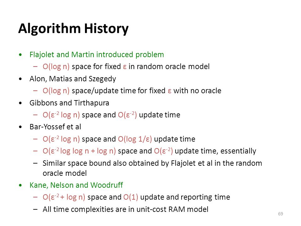 Algorithm History Flajolet and Martin introduced problem