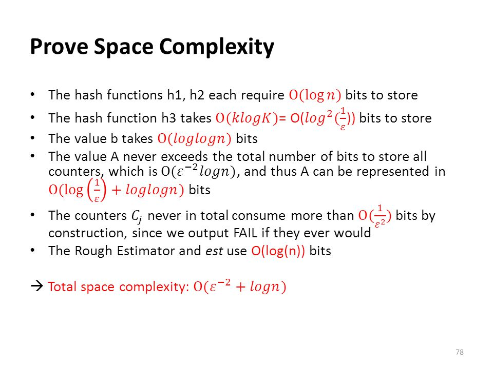 Prove Space Complexity
