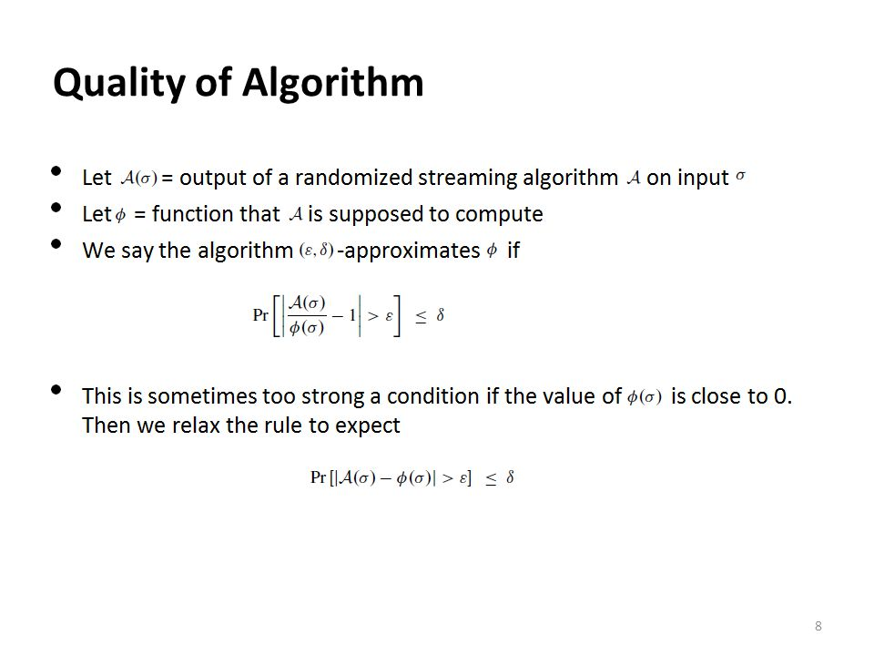 Quality of Algorithm