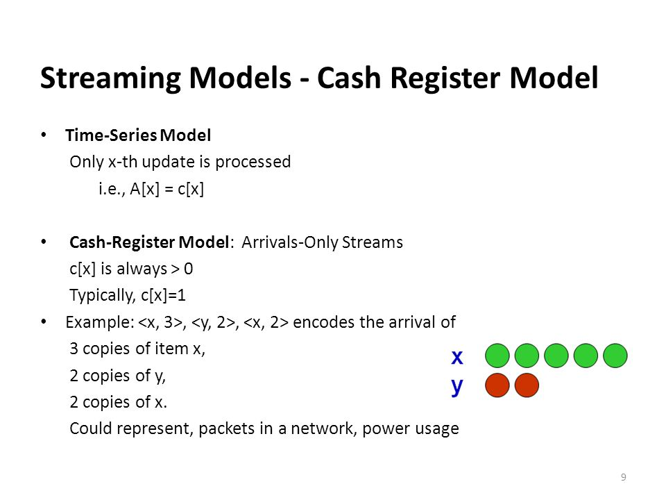 Streaming Models - Cash Register Model