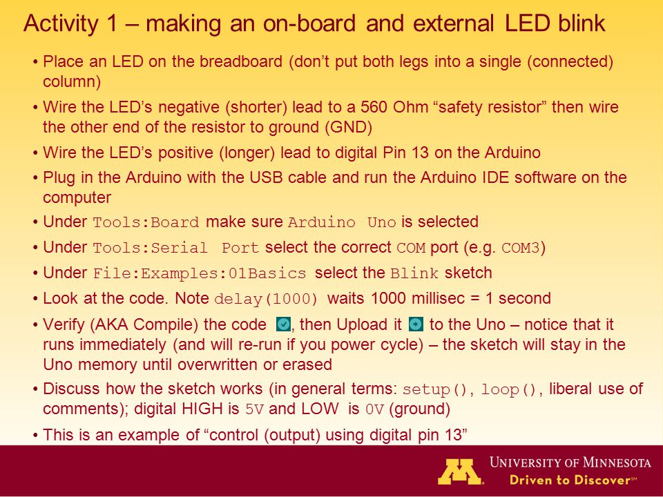 Activity 1 – making an on-board and external LED blink