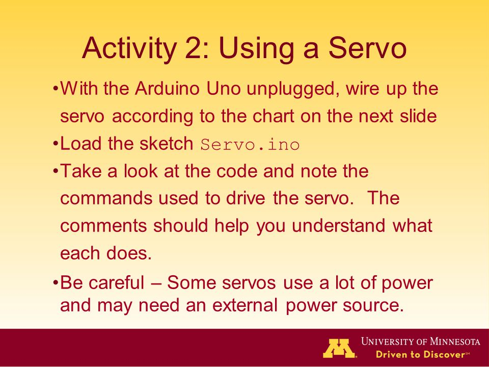 Activity 2: Using a Servo