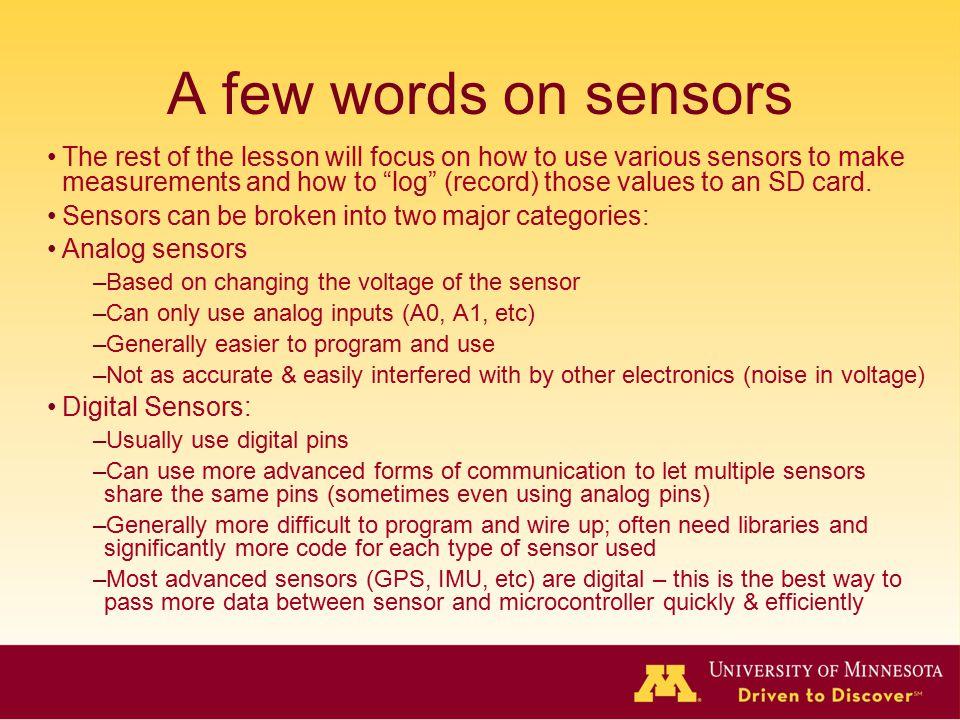 A few words on sensors