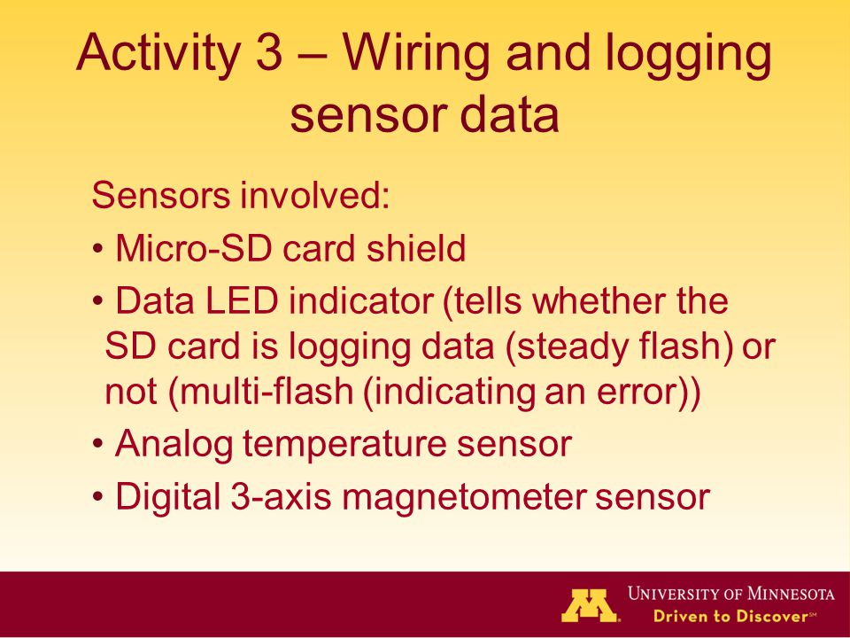 Activity 3 – Wiring and logging sensor data
