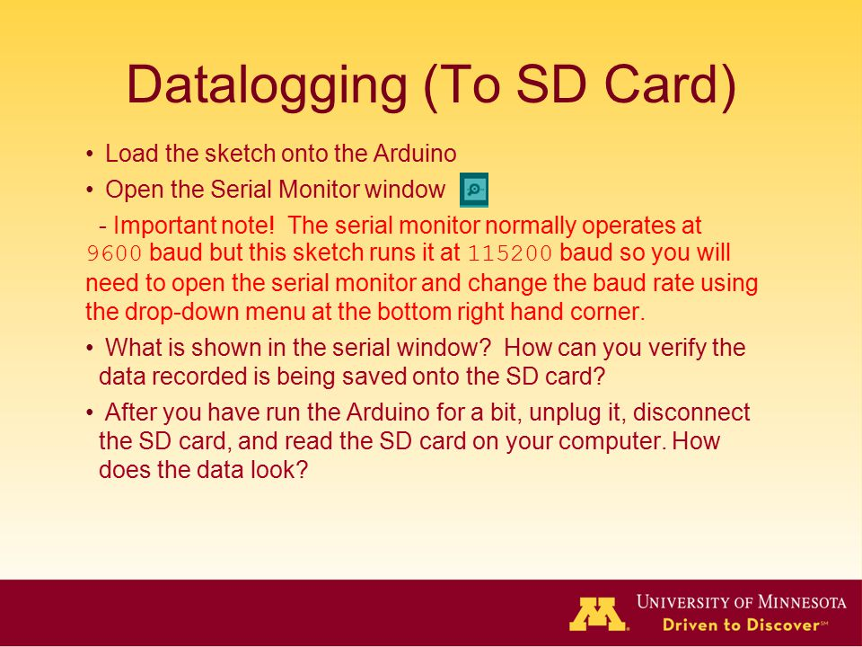 Datalogging (To SD Card)