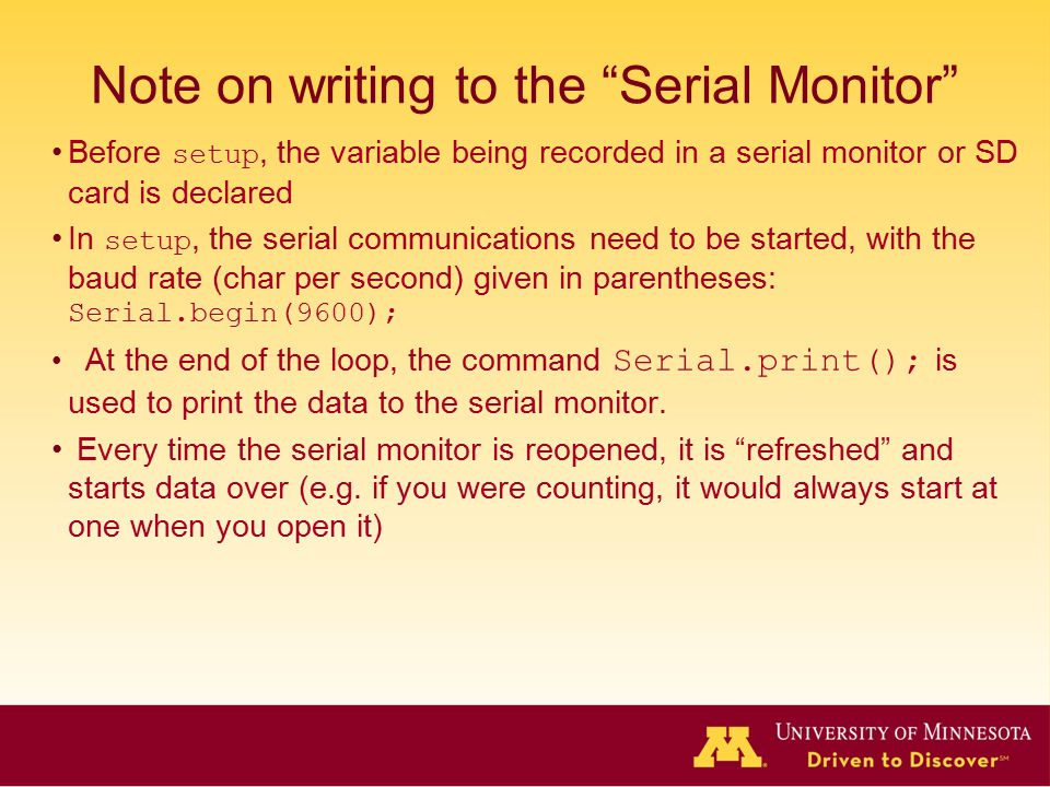 Note on writing to the Serial Monitor